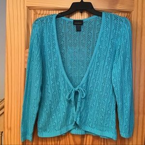🦕Teal Knit Cardigan with Tie - versatile